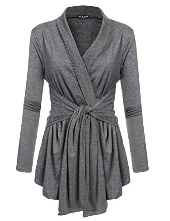 ACEVOG Women's Long Sleeve Open Front Lightweight Drape Soft Wrap Travel Sweater Cardigan