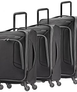 American Tourister 4 Kix 3pc Softside Expandable Spinner Luggage Set-eBags Exclusive Black/Grey - American Tourister Luggage Sets