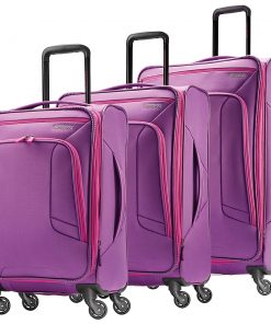 American Tourister 4 Kix 3pc Softside Expandable Spinner Luggage Set-eBags Exclusive Purple/Pink - American Tourister Luggage Sets