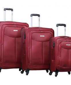 Dejuno The Legacy 3-Piece Softside Lightweight Spinner Upright Luggage Set Burgundy - Dejuno Luggage Sets