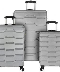 Elite Luggage Omni 3 Piece Hardside Spinner Luggage Set Grey - Elite Luggage Luggage Sets