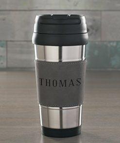 Engraved Any Name Grey Leatherette Travel Mug