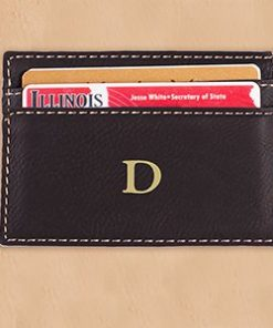 Engraved Initial Black Leatherette Money Clip