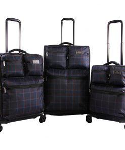 Original Penguin Luggage Norton 3 Piece Expandable Spinner Luggage Set Navy Plaid - Original Penguin Luggage Luggage Sets