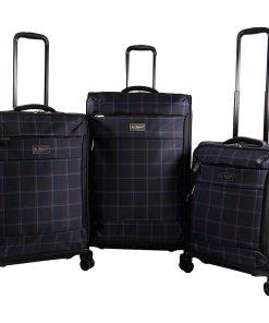 Original Penguin Luggage Original 3 Piece Expandable Spinner Luggage Set Navy Plaid - Original Penguin Luggage Luggage Sets