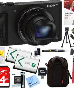 Sony Cyber-Shot DSC-HX90V Compact Digital Camera (Black) + 64GB SDXC Memory Dual Battery + Accessory Bundle