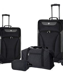 Travelers Club Luggage Augusta 4 Piece Softside Spinner Value Luggage Set Black - Travelers Club Luggage Luggage Sets