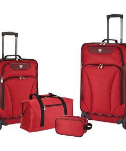 Travelers Club Luggage Augusta 4 Piece Softside Spinner Value Luggage Set Red - Travelers Club Luggage Luggage Sets