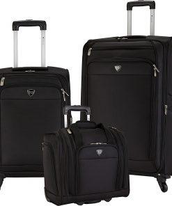 Travelers Club Luggage Monterey 3 Piece Softside Luggage Set Black - Travelers Club Luggage Luggage Sets