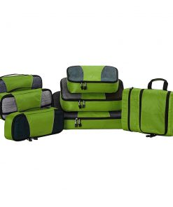 eBags Pro Packer 6pc Packing Cubes with Pack-It-Flat Toiletry Kit Grasshopper - eBags Travel Organizers