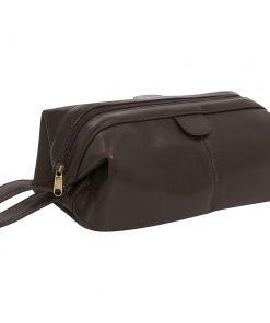 AmeriLeather Top-Zip Leather Toiletry Bag - Dark Brown