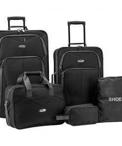 Elite Luggage Whitfield 5 Piece Softside Lightweight Rolling Luggage Set Black - Elite Luggage Luggage Sets
