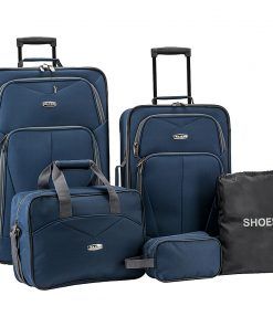Elite Luggage Whitfield 5 Piece Softside Lightweight Rolling Luggage Set Navy - Elite Luggage Luggage Sets
