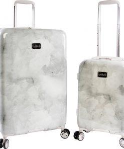 BEBE Lilah 2 Piece Hardside Spinner Luggage Set Silver Marble - BEBE Luggage Sets