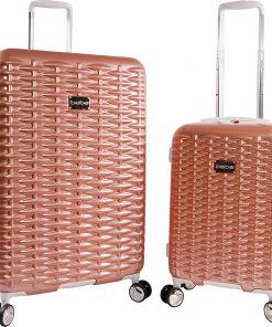 BEBE Lydia 2 Piece Hardside Spinner Luggage Set Rose Gold - BEBE Luggage Sets