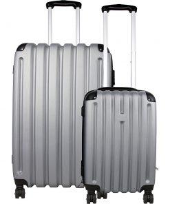 Bellino 2 Piece Hardside Spinner Luggage Set Silver/Grey - Bellino Luggage Sets