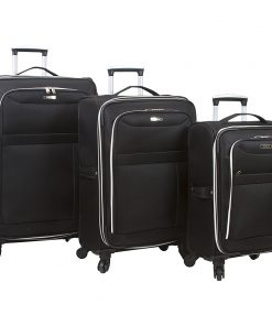 Dejuno Aria 3 Piece Softsided Lightweight Spinner Luggage Set Black - Dejuno Luggage Sets
