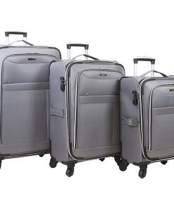 Dejuno Aria 3 Piece Softsided Lightweight Spinner Luggage Set Grey - Dejuno Luggage Sets