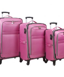 Dejuno Aria 3 Piece Softsided Lightweight Spinner Luggage Set Pink - Dejuno Luggage Sets