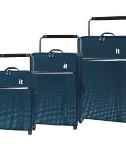 it luggage World's Lightest Vitalize 3 Piece Softside Luggage Set Legion Blue - it luggage Luggage Sets