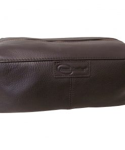AmeriLeather Cosmetic/Travel Accessory Bag Dark Brown - AmeriLeather Toiletry Kits