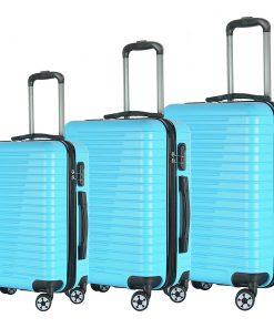 Brio Luggage Eco Light 3 Piece Hardside Spinner Luggage Set Light Blue - Brio Luggage Luggage Sets