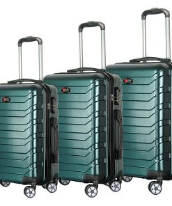 Brio Luggage Evergreen 3 Piece Hardside Spinner Luggage Set Dark Green - Brio Luggage Luggage Sets
