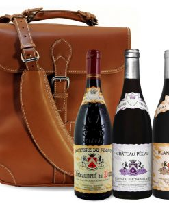 J. Holland Leather Saddle Bag & Pegau Family Red Wines - Wine Collection Gift