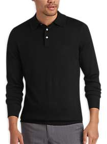 Joseph Abboud Black Polo Collar Merino Wool Sweater