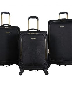 Aimee Kestenberg Parker 3 Piece Lightweight Expandable Spinner Luggage Set Midnight Black Jacquard With Gold Hardware - Aimee Kestenberg Luggage Sets