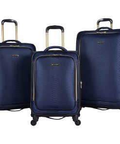Aimee Kestenberg Parker 3 Piece Lightweight Expandable Spinner Luggage Set Navy Jacquard With Gold Hardware - Aimee Kestenberg Luggage Sets