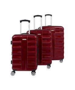 Cavalet Artic 3 Piece Hardside Spinner Luggage Set Burgundy - Cavalet Luggage Sets
