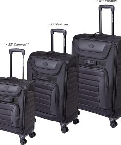 Harley Davidson by Athalon Quilted 3 Piece Spinner Luggage Set Black - Harley Davidson by Athalon Softside Checked