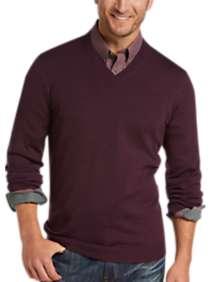 Joseph Abboud Wine V-Neck Merino Wool Sweater
