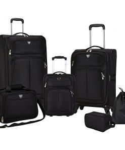 Travelers Club Luggage Hartford 6 Piece Softside Luggage Set Black - Travelers Club Luggage Luggage Sets