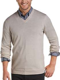 Joseph Abboud Ivory V-Neck Merino Wool Sweater