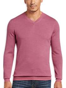 Joseph Abboud Pink V-Neck Merino Wool Sweater