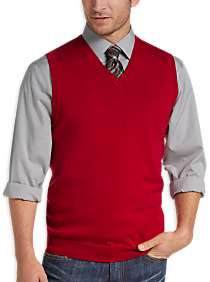 Joseph Abboud Red V-Neck Modern Fit Sweater Vest