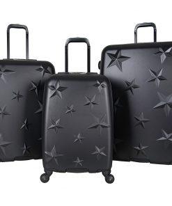 Aimee Kestenberg Star Journey 3 Piece Lightweight Hardside Spinner Luggage Set Black with Silver Hardware - Aimee Kestenberg Luggage Sets