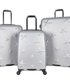 Aimee Kestenberg Star Journey 3 Piece Lightweight Hardside Spinner Luggage Set Metallic Light Silver with Silver Hardware - Aimee Kestenberg Luggage Sets