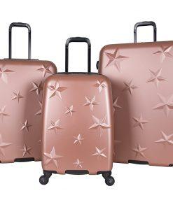 Aimee Kestenberg Star Journey 3 Piece Lightweight Hardside Spinner Luggage Set Rose Gold with Hematite Hardware - Aimee Kestenberg Luggage Sets