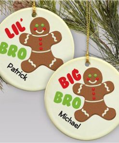 Big Brother - Lil Brother Gingerbread Christmas Ornament