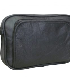 AmeriLeather Leather Travel Toiletry Bag Black - AmeriLeather Toiletry Kits