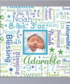 Baby Photo Word-Art Square Canvas