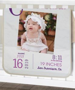 Birthday Sherpa Personalized Photo Baby Blanket
