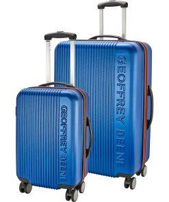 Geoffrey Beene Luggage 2 Piece Debossed Hardside Spinner Luggage Set Navy w/ Red Trim - Geoffrey Beene Luggage Luggage Sets