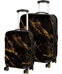 Geoffrey Beene Luggage Deep Marble 2 Piece Hardside Spinner Luggage Set Black & Gold - Geoffrey Beene Luggage Luggage Sets
