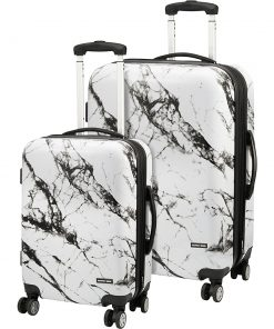 Geoffrey Beene Luggage Deep Marble 2 Piece Hardside Spinner Luggage Set Black & White - Geoffrey Beene Luggage Luggage Sets