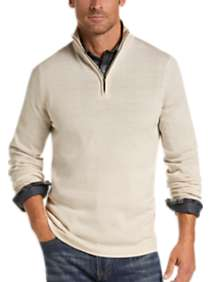 Joseph Abboud Ivory 1/4 Zip Mock Neck Wool Sweater