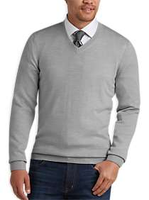 Joseph Abboud Light Gray V-Neck Merino Wool Sweater